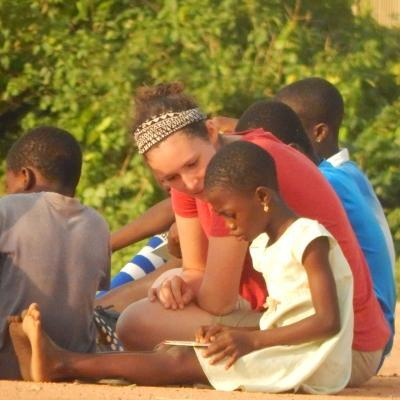 A Projects Abroad intern gains social work experience in Ghana by working through activities with a child